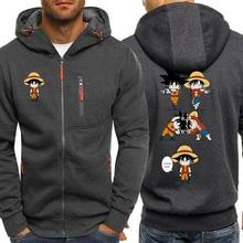Luffy komik Hoodies erkekler rahat ceket japon animesi Dragon topu Z erkek kazak tek parça Hoodie erkek 2019 Coats eşofman