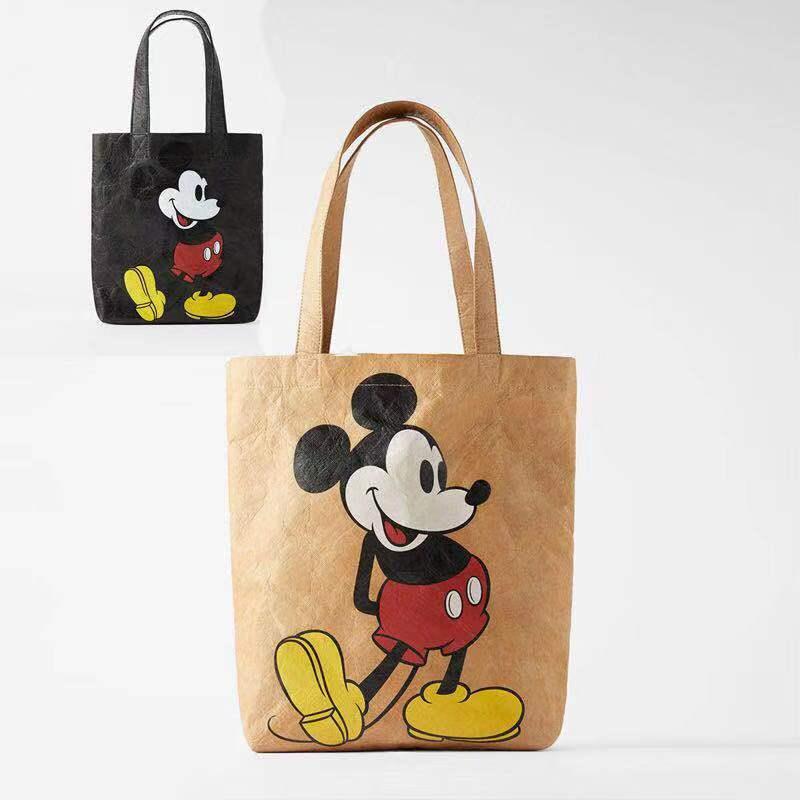 Disney mickey mouse canves senhora bolsa de ombro bolsa feminina alta capacidade dos desenhos animados sacola de compras