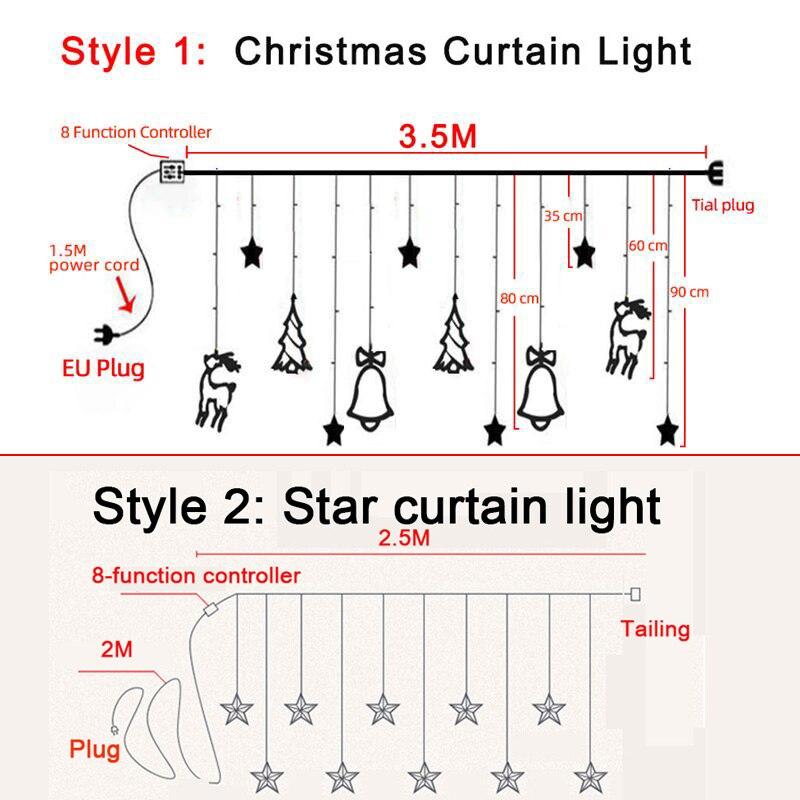 Lămpi de Crăciun LED de 3,5 m lumina cortină ghirlandă sticlă - Luminări festive - Fotografie 6