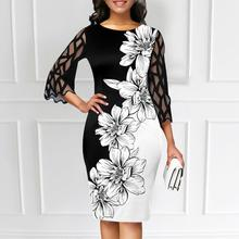 Casual Elegant Dress Women Floral Print Mesh Patchwork 3/4 Sleeve Bodycon Streetwear for Party Dress