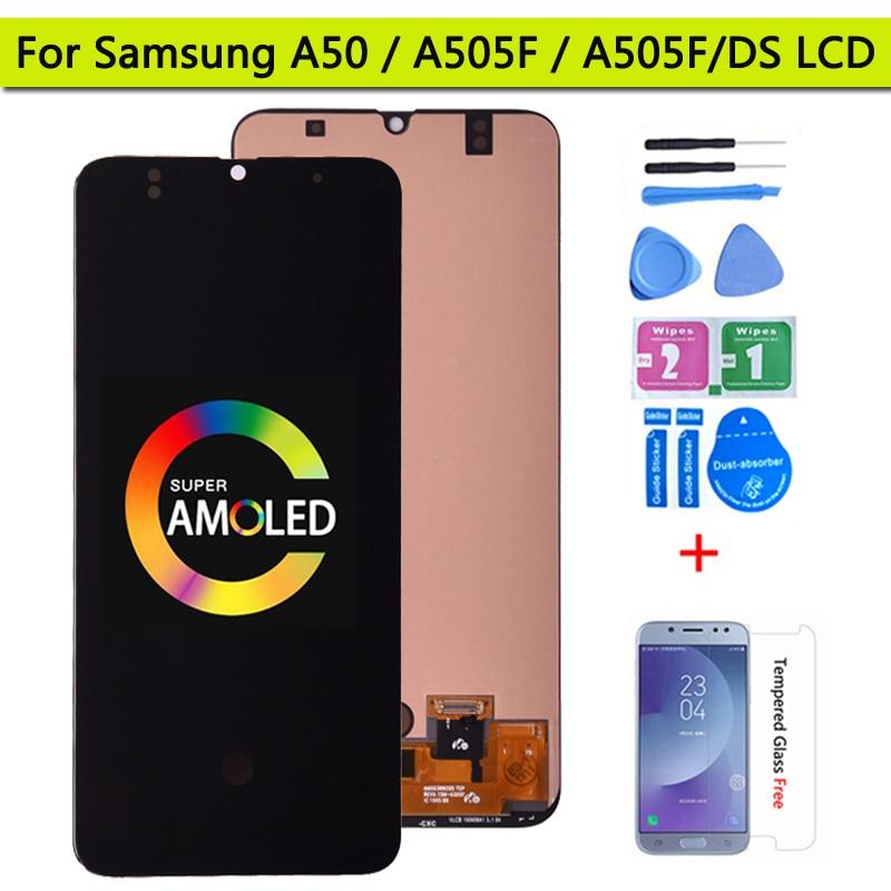 Super amoled 6.4 display display display para samsung galaxy a50 SM-A505FN/ds a505f/ds display lcd de toque digitador da tela para samsung a50 lcd