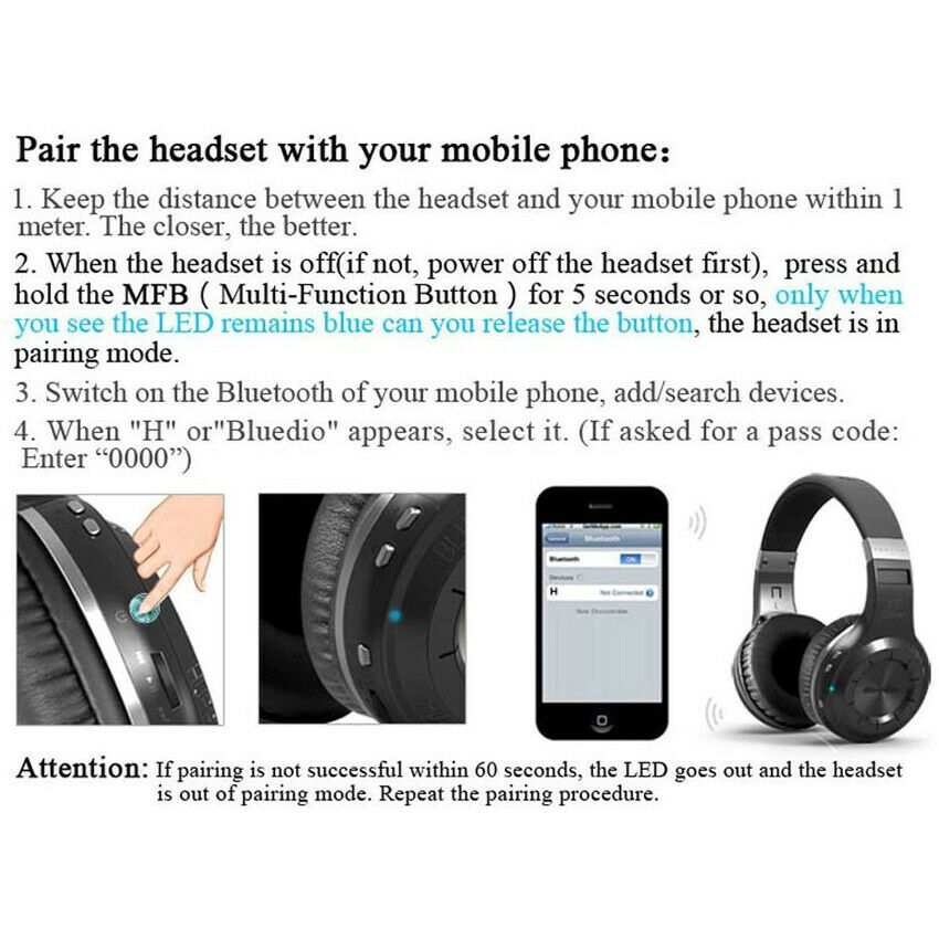 Bluedio HT Bluetooth Headphone Bluetooth Version 5.0 Wireless Headset with Micrphone for call enlarge
