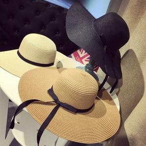 Summer Wide Brim Straw Hats Big Sun Hats For Women  UV Protection Panama  floppy  Beach Hats Ladies bow  hat chapeau femme ete