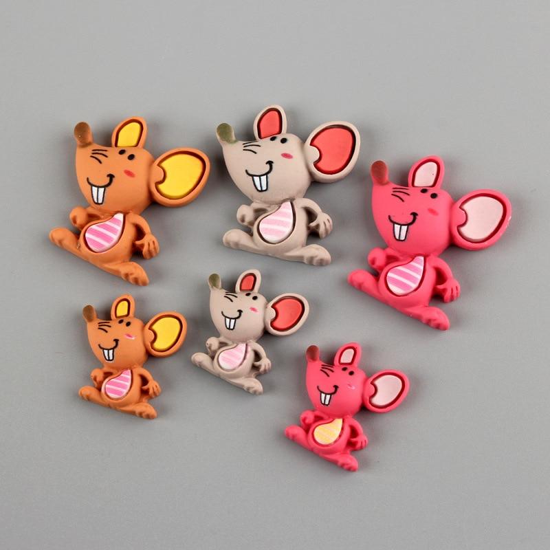 Cabujón plano de resina con dibujo de ratón Kawaii, 10 Uds., decoración de teléfono, adorno DIY, arte de colección de recortes, accesorios
