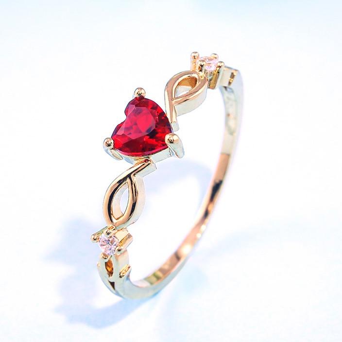 Huitan Simple Heart Ring For Women Female Cute Finger Rings Romantic Birthday Gift For Girlfriend Fashion Zircon Stone Jewelry