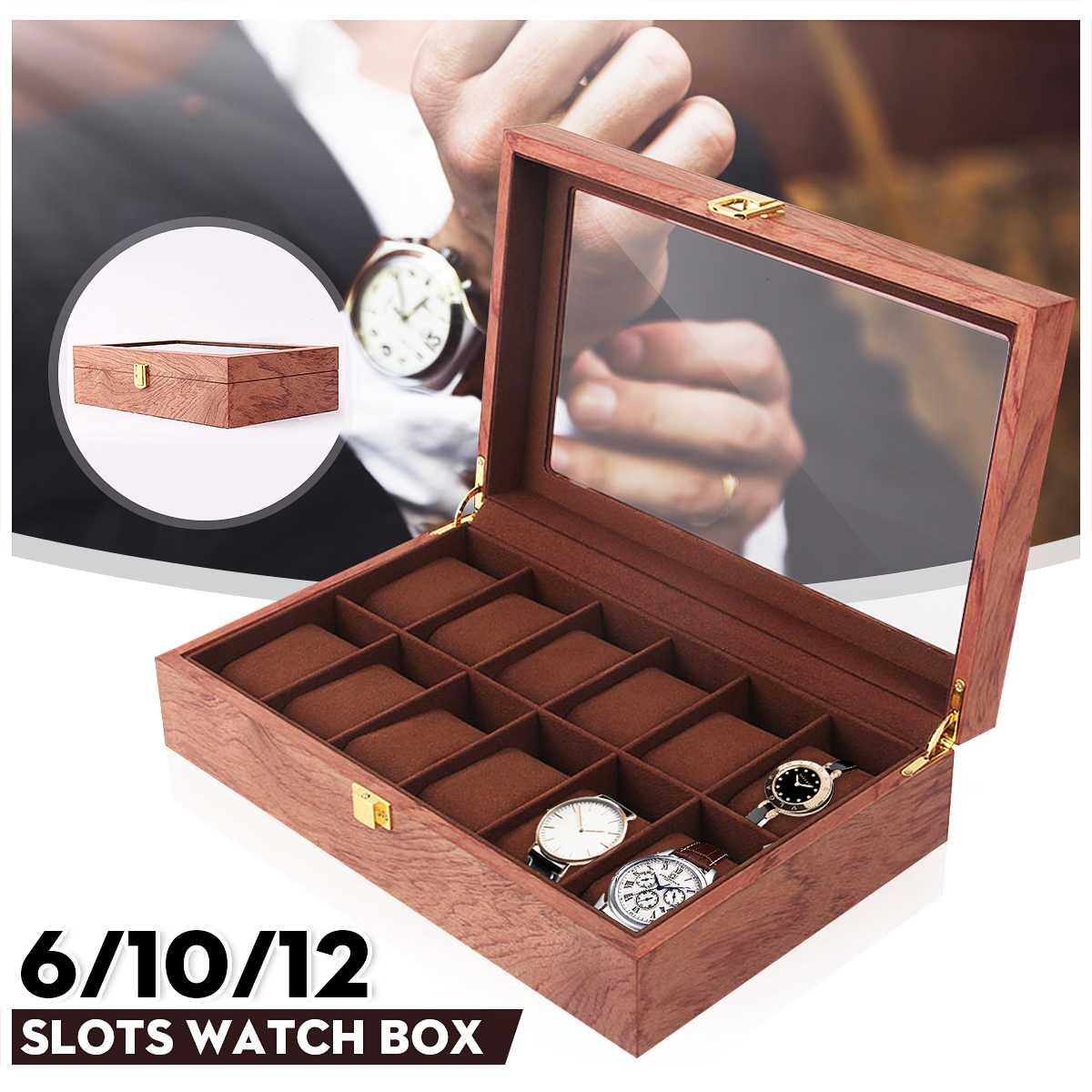 6/10/12 Grids Retro Red Wooden Watch Display Case Durable Packaging Holder Jewelry Collection Storage Watch Organizer Box Casket