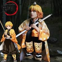 Disfraz de Demon Slayer para hombre, Kimono de Anime japonés Kimetsu no Yaiba Agatsuma Zenitsu, uniforme para fiesta de Halloween, peluca