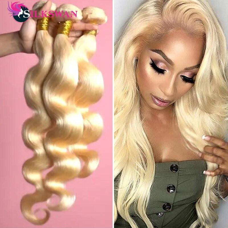 Silkswan Body Wave 613 Blonde Hair Bundles Brazilian 3 Bundles Or 4 Bundles Deal Honey Blonde 613 Ha