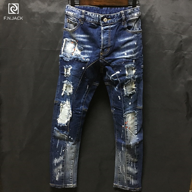 F. n. jack calças de brim masculinas cowboy à moda rasgado calças de brim magros calças de brim moto & biker