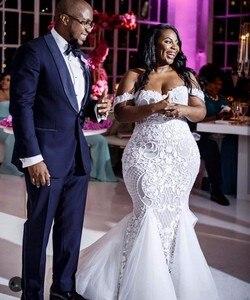 African Mermaid Plus Size Wedding Dress 2020 Vestido de Noiva Off Shoulder Lace Appique Bridal Gowns Custom Made Robe De Mariage