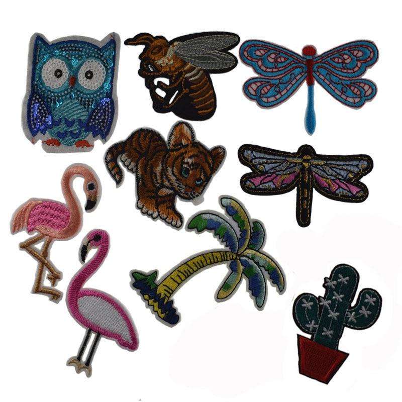 2 pçs costura remendos bordados hotfix motif apliques coruja abelha tigre dragonfly pelican remendos de ferro para acessório de vestuário