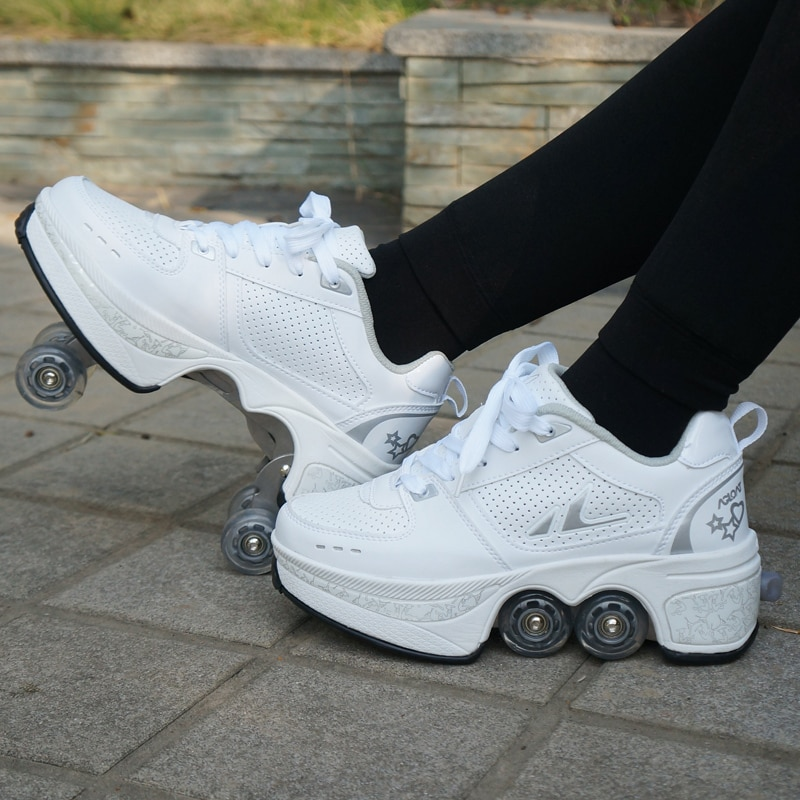 Deformation Parkour Shoes Four wheels Rounds of Running Shoes Roller Skates shoes adults kids unisex