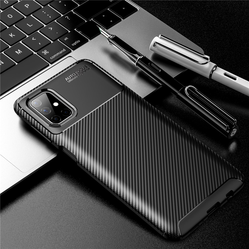 For Samsung Galaxy M51 Case Bumper Silicone Carbon Fiber Shockproof Cover For Samsung M51 Case For Samsung M51 M31 M21 M11 M01
