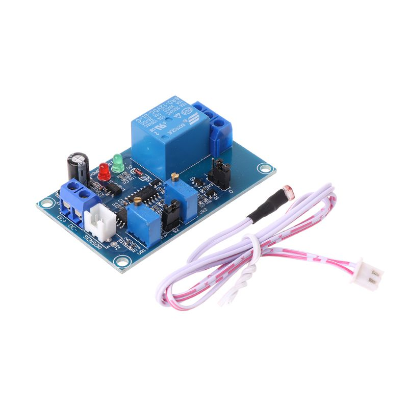 Sensor de detección de luz LED de 12V fotoresistor Plus con ajuste de módulo de relé temporizador