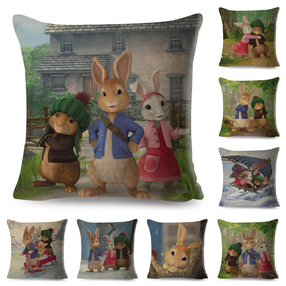 Funda de cojín de conejo de dibujos animados de colores para sofá, hogar, habitación de los niños, decoración de cuento de hadas, fundas de almohada de animales, funda de almohada de lino