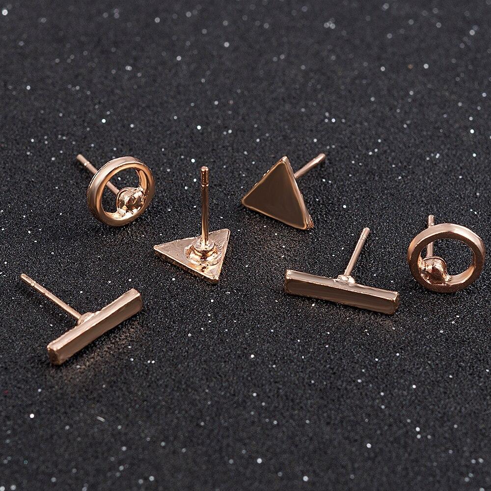 2020 модные ювелирные аксессуары 3 шт./компл. женские простые золотые серьги-гвоздики из сплава с круглой треугольной геометрической формой