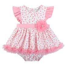 Newborn Baby Infant Girl Romper Tutu Dress Ruffle Floral Outfits Party Dress Toddler Cute Princess P