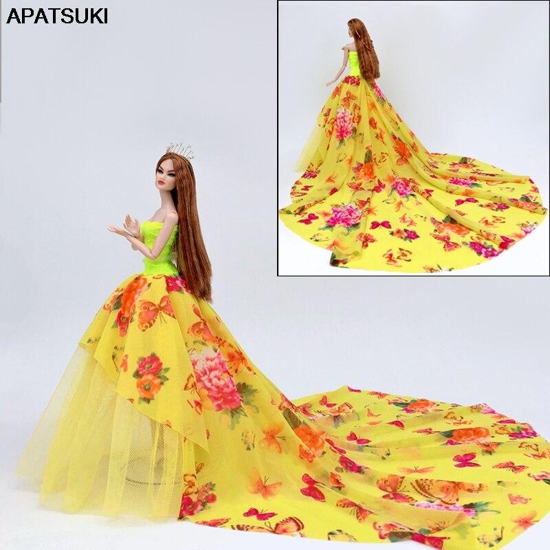 Estampado de flores de mariposa amarillo vestido de fiesta de noche vestido para muñeca Barbie princesa vestidos ropa para 1/6 muñecas BJD juguete