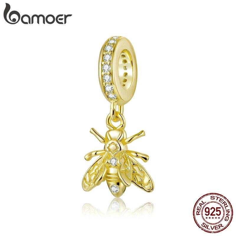 Bamoer 925 argent Sterling or couleur abeille pendentif breloque ajustement Original Bracelet & Bracelet marque européenne Fine bijoux BSC249