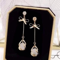 fashion bow opal drop long hanging earrings for women elegant girl tassel earring stylish jewelry personality gift