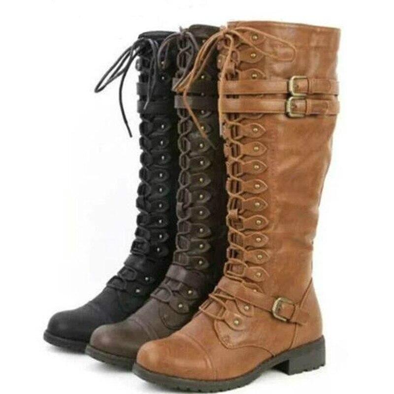 Botas femininas para outono e inverno, calçado feminino sexy com cadarço e fivela retrô yui8
