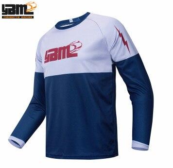 Maillot-Camiseta de Ciclismo para hombre, color azul o blanco, de Enduro, para Ciclismo de montaña y Motocross