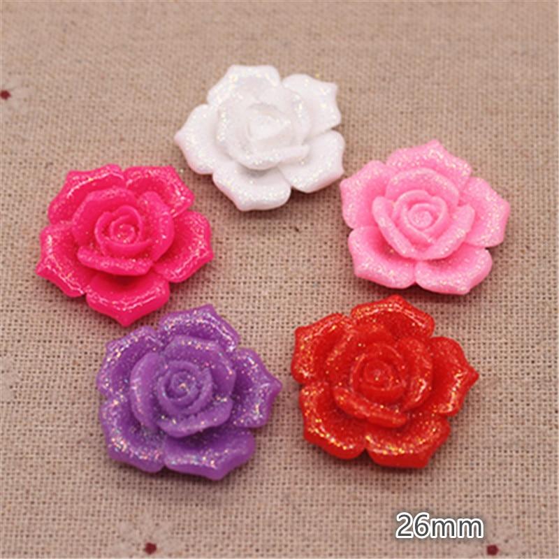 10 Uds., 26mm, bonita Flor de resina con purpurina, forma de rosa, cabujón plano, manualidades para álbum de recortes, decoración de boda