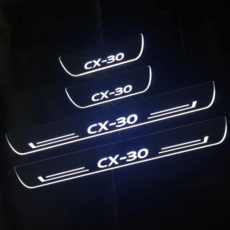 Led Auto Scuff Plaat Bekleding Pedaal Instaplijsten Pathway Moving Welkom Licht Voor Mazda CX30 CX-30 Accessoires Acryl