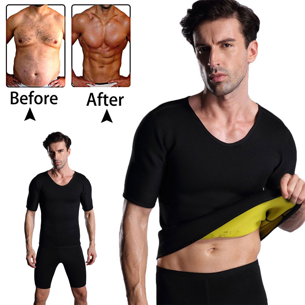 Camiseta de talla grande para hombre, chaleco moldeador de cuerpo, ropa moldeadora de neopreno, entrenador de cintura, corsé adelgazante, camisetas, S-3XL moldeador de cuerpo