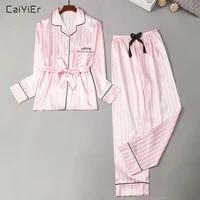caiyier autumn winter new women faux silk pajamas set 2pcs satin stripes polka dot printed long sleeve night robe sexy sleepwear