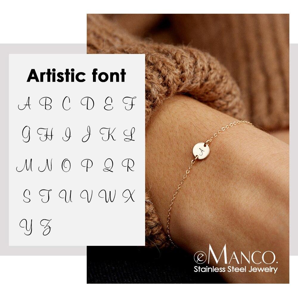 Emanco personalizado gravado carta braceletes para mulher 316l aço inoxidável pulseira acessórios jóias