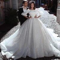 eightree luxury ball gown lace appliques dubai wedding dresses half sleeve bride dress satin wedding gowns vestido de noive