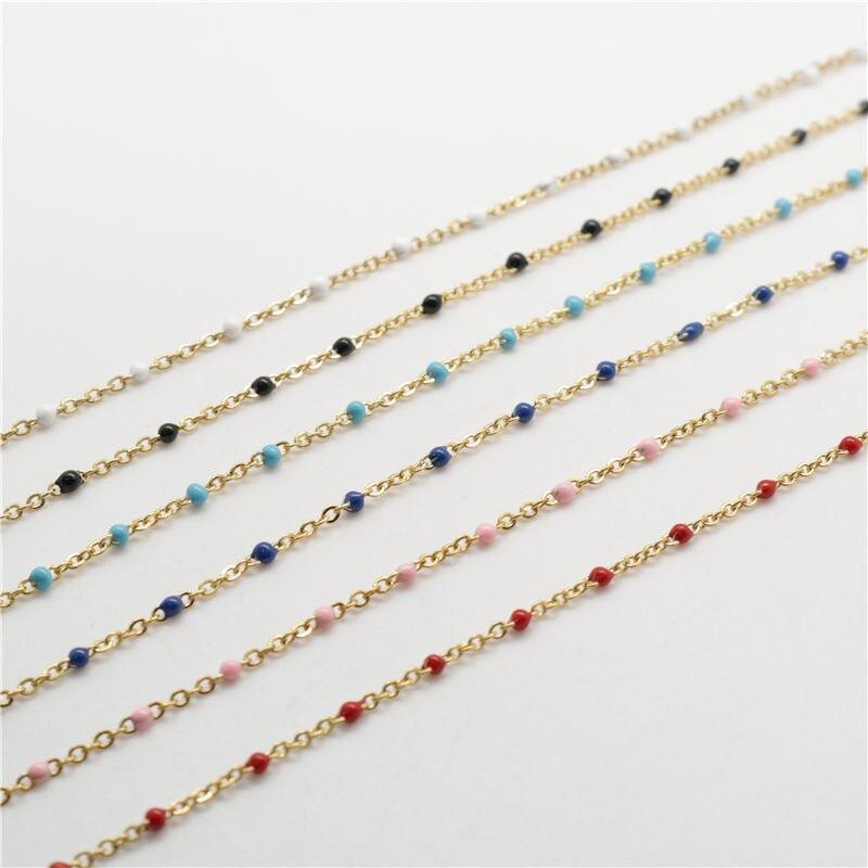 DoreenBox Simple de acero inoxidable Cadena de eslabón de Cable de oro Multicolor esmalte cadenas de moda DIY suministros de fabricación de la joyería 1M 2.5x2mm