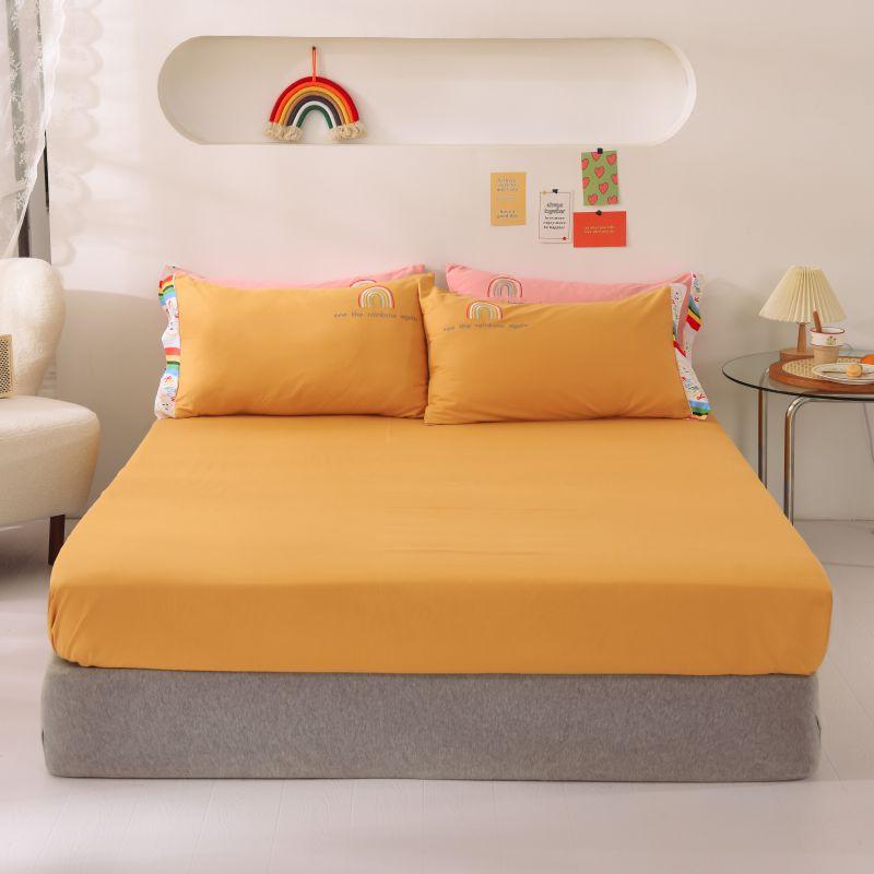 100% أغطية سرير القطن بلون مرونة المجهزة ملاءات الملكة الملك كامل مزدوج الحجم غطاء مرتبة لا المخدة 180x200 160X200