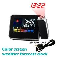 Wekker Led Digitale Projectie Temperatuur Thermometer Desk Tijd Datum Display Projector Kalender Usb Charger Tafel Led Klok