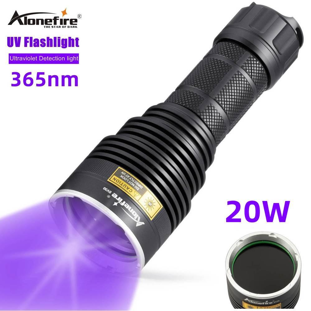Ультрафиолетовый фонарик Alonefire SV40, 20 Вт, 365 нм, ультраневидимый фонарик для обнаружения пятен животных и руды и драгоценных камней