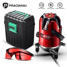 PRACMANU 5 lignes 6 Points niveau Laser auto-nivellement automatique 360 degrés dinclinaison verticale et horizontale rotatif LD 635nm Mode extérieur