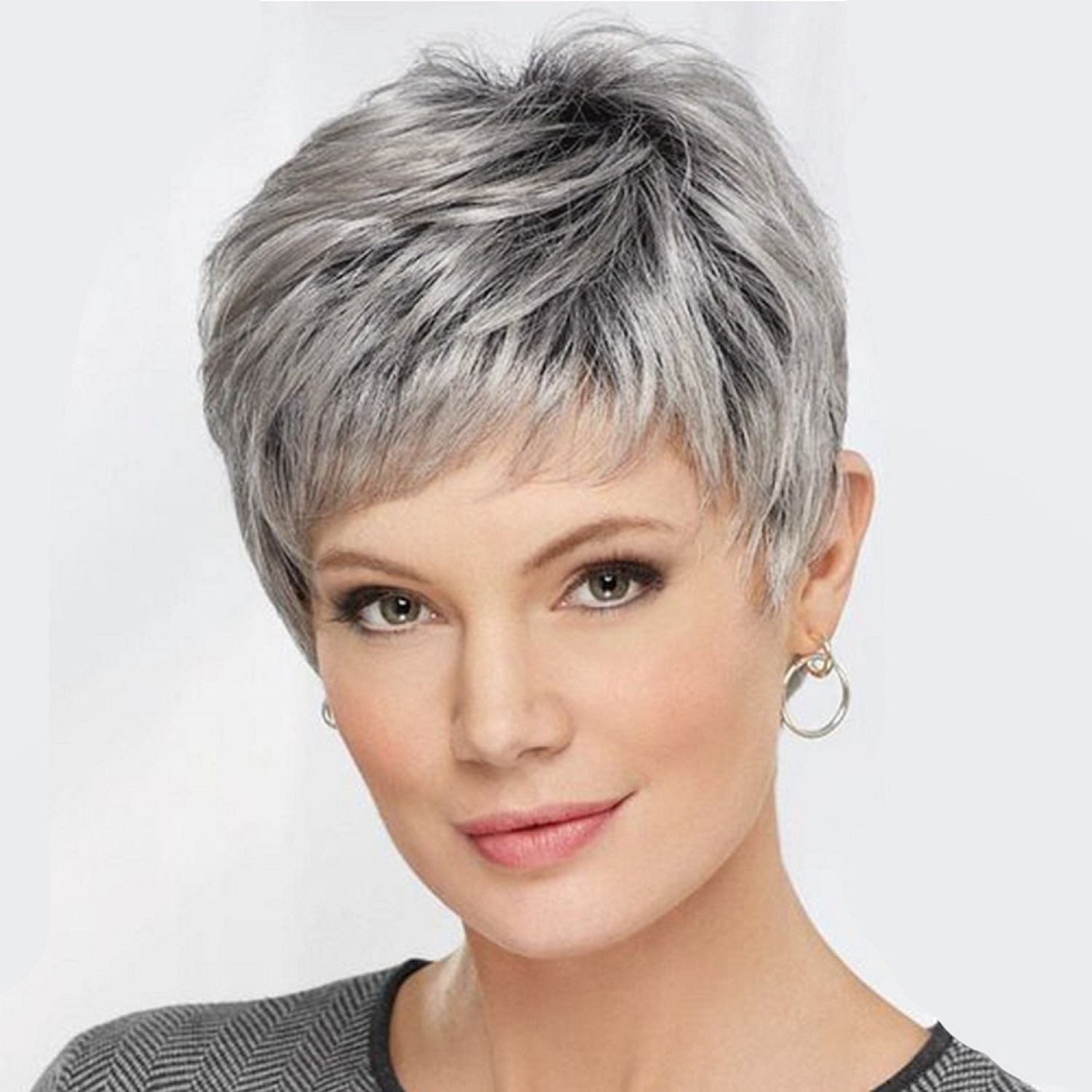 Wigs for Women Synthetic Short Wig with Bangs Mixed Gray Wigs High Temperature Fiber Heat Resistant Hair
