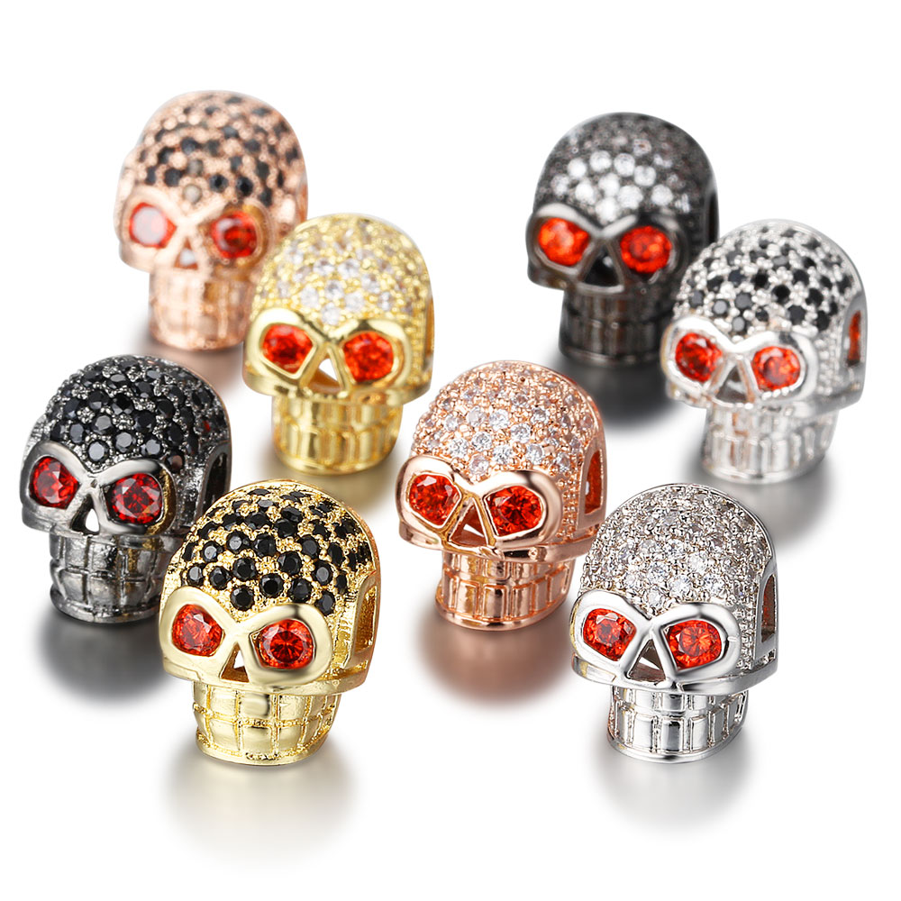2 pçs/lote CZ Crânio Contas de Metal DIY Bead Charme Micro Pave CZ Zircon Contas Esqueleto para Homens Pulseiras Fazendo Atacado