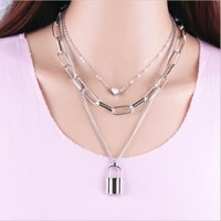 fashion multilayer chain neck lock pendant necklaces for women punk heart choker necklaces female accessories goth jewelry