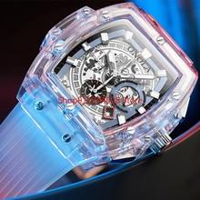 Luminous Men's Watch Multi-Function Fashion Transparent Shell Chronograph Three-Pin Calendar Watches