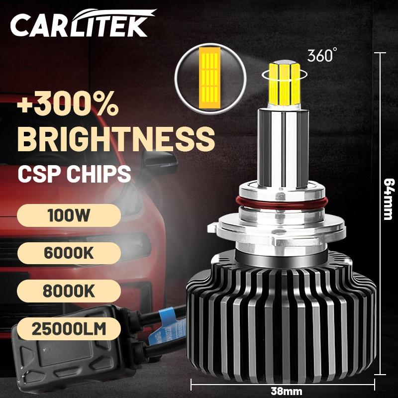 Carlitek 25000LM H7 الصمام العلوي 360 درجة CSP رقاقة عالية مشرق 9012 HIR2 H1 H11 H4 HB3 HB4 H8 H9 9005 9006 عالية شعاع شعاع منخفض