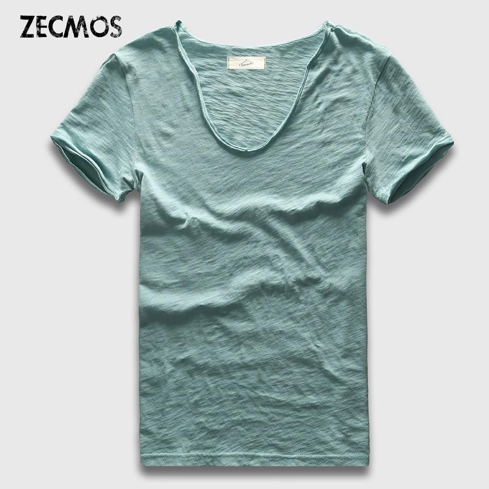 Zecmos Brand Men T-Shirt Plain Hip Hop Fashion Casual XXXL V Neck T Shirt Swag For Men Short Sleeve Man Top Tees zecmos men t shirts long sleeve male v neck t shirt for men vneck tee male tshirts slim fit top tees swag wide low neck