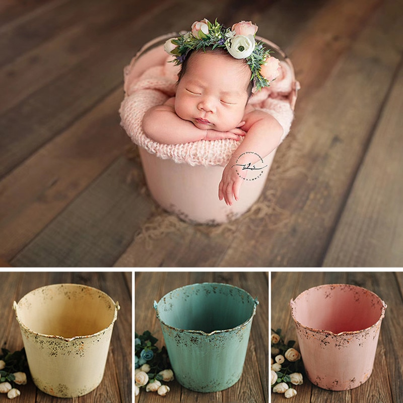 Newborn Photography Props Retro Colored Iron Bucket Boy Girl Baby Photo Bakset Old Container Fotografie Accessoires Background
