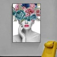 Peinture sur toile de Portrait de femme et fleur  a la mode  affiche dart mural  pour decoration de maison
