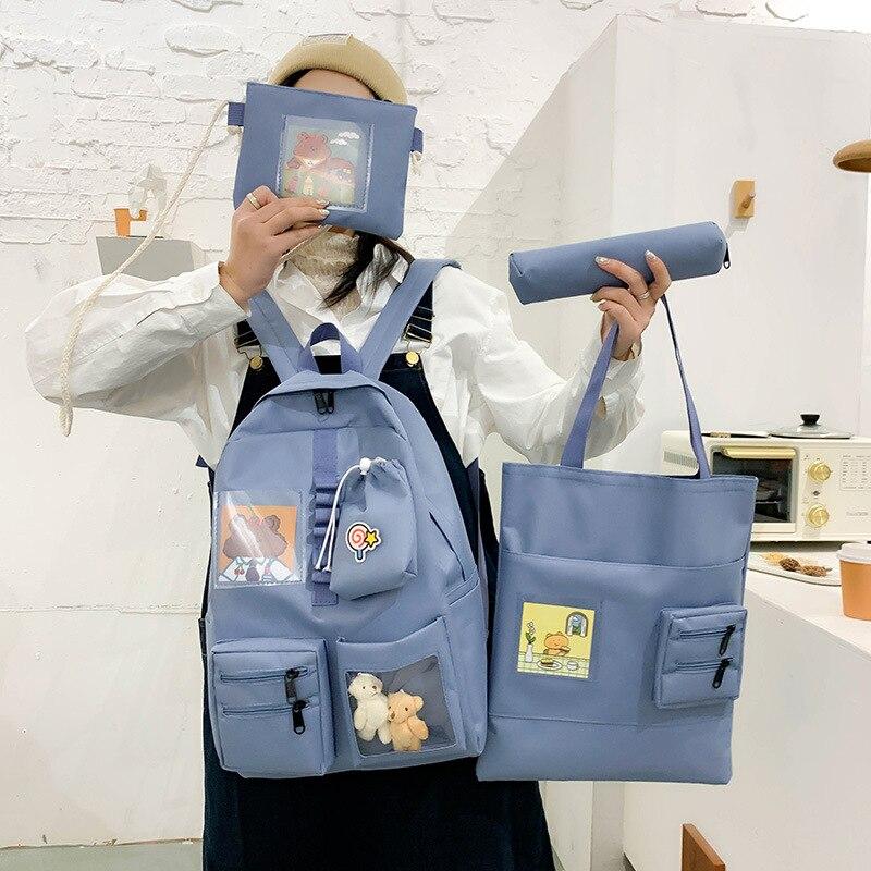 4 pcs sets Purple Backpack Women Waterproof Candy Colors Backpacks Fancy High School Bags for Teenage Girl Cute Travel Rucksack