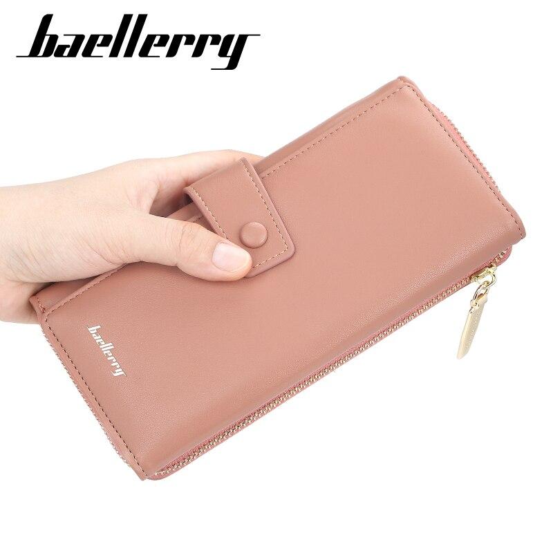 Baellerry 2020 mujeres carteras largas de cuero de diseñador de embrague Slim carteras de ama de llaves y monederos