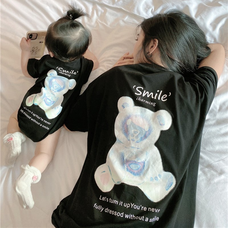Family Matching Clothes Mother Father Son Family Clothes Mommy And Me Cartoon Bear Short Sleeve Tshirt Mother And Daughter Dress