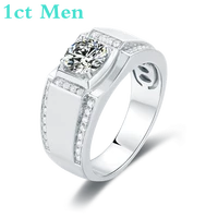 925 silver moissanite ring 1ct d 6 5mm d color classic trendy style fashion love token men gift with national certificate