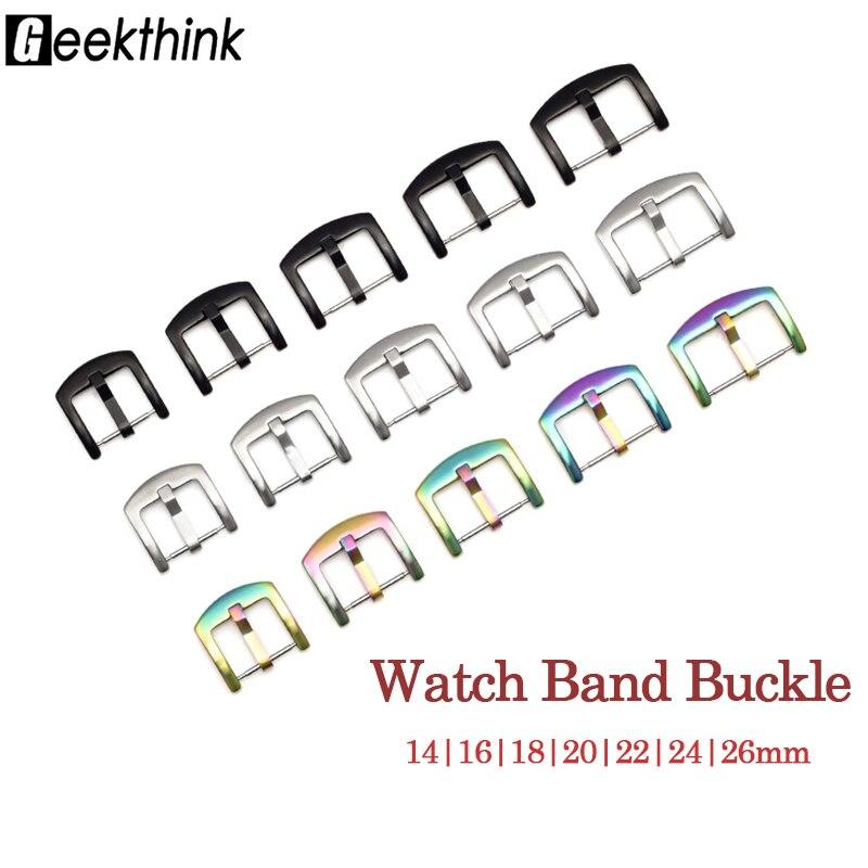 Correa de reloj hebilla de Metal 14 16 18 20 22 24 26mm correa de reloj Universal Color plata negro cierre de acero inoxidable Accesorios